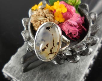 Montana agate sterling silver ring - size 9