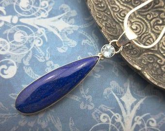Lapis & blue topaz sterling silver pendant/necklace