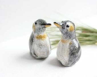 Cake Topper Penguin - Penguin Cake Topper - Clay Penguins - READY TO SHIP - Winter Wedding - Winter Wedding Cake Topper