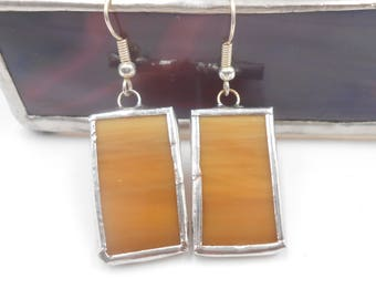 Ombre Opaque Amber Streaky Stained Glass Earrings