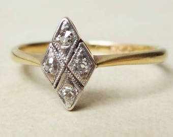 Art Deco Diamond Navette Leaf Setting Ring, 18k Gold, Platinum and Diamond Engagement Ring Approx. Size US 6.25/6.5