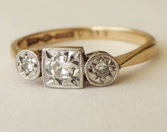 Art Deco Diamond Trilogy Ring, 9 Carat Gold Platinum and Diamond Engagement Ring Approx. Size US 6.25