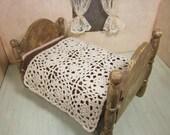 Modern crochet miniature dollhouse bedspread, bold lace crochet bedding, 1/12 scale crochet, ready to ship