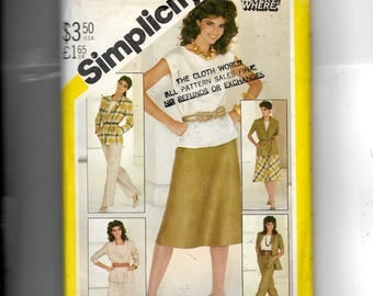 Simplicity Misses' Pants, Bias Skirt, Pullover Top and Unlined Jacket Pattern 5481
