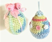Pastel Easter Egg Ornaments, Two Decorated Crochet Easter Eggs, Large Hanging Easter Egg Decorations, Soft Spring Color Easter Egg Ornaments