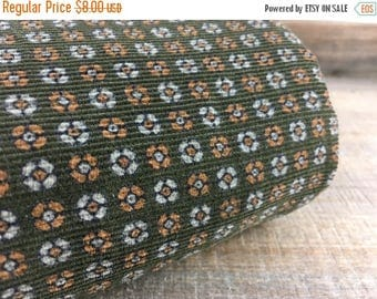 MEMORIAL DAY SALE- Dark Floral Corduroy Fabric-Olive Green-