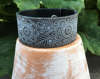 Embossed Leather Cuff-Create Your Own-Floral Leather-Word Cuff