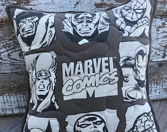 CRAZY SALE- Marvel Throw Pillow-Comic Book- Throw Pillow--Upcycled Eco Friendly-Quilted
