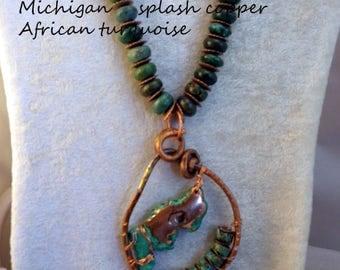 Copper Splash Tourquoise Necklace Pendant