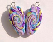 Whirlwind Dagger Style Charm Handmade Artisan Polymer Clay Beads Pair