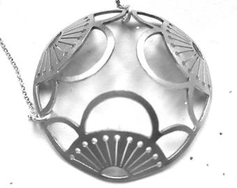 Domed Sterling Triple Moeko Pendant