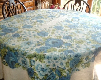 Vintage Tablecloth Beautiful Blue Roses  Large 55 x 78 inches