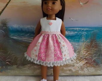 """14 and 14.5"""" Doll Dress Romantic Shades of Pink Medley OOAK Fits dolls like H4H and Wellie Wishers"""