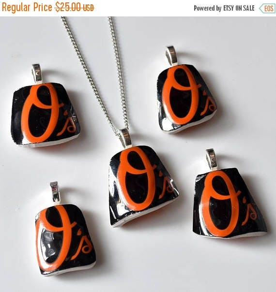 VALENTINE SALE Broken Plate Pendant on Chain - Baltimore ORIOLES - Recycled China