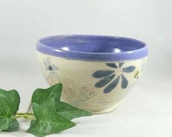 Handmade Ceramic soup bowl, pottery cereal bowl, ice cream dish, key bowl kitchen serving bowl, salad bowl,  Save the bees 867