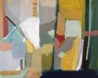 abstract painting bohemian art contemporary design original painting 20x24 modern home deco indigo blue  color block art pamela munger