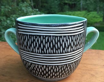 Graphic Modern Carved Porcelain Container Planter
