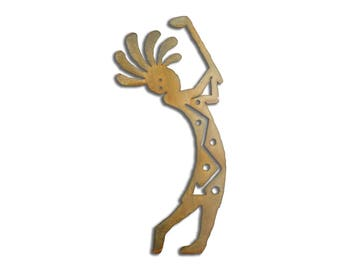 Kokopelli Golf Drive Wall Art - Brown Rust Finish