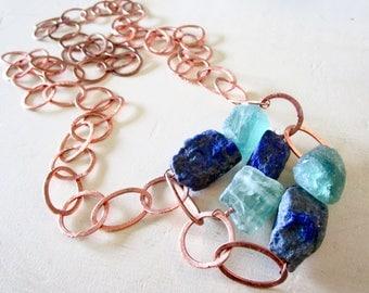 The Blues - Lapis Lazuli & Fluorite ABACUS - Huge Nuggets - Copper Chain - Wilma Flintstone Necklace - Statement - Etsy Jewelry - catROCKS