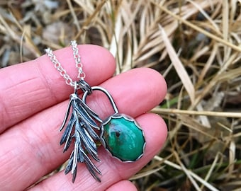 Sterling Silver Redwood Sprig Necklace with Gem Grade Crescent Lake Variscite - 22 inch sterling silver rolo chain