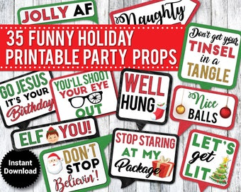 35 Funny Holiday PRINTABLE Party Photo Booth Props - INSTANT DOWNLOAD