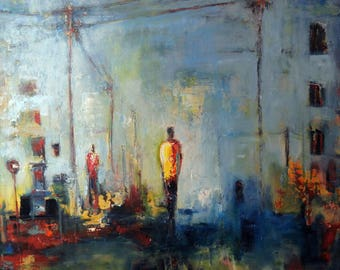 Urban Art ORIGINAL Large Original Painting Abstract Art Painting Figures Blue and Yellow by BenWill