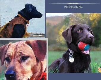 Custom Pet Portraits , Dog Portraits,  Dog Oil Portraits on Canvas or as Canvas Prints