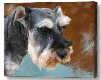 Custom Pet Portraits , Dog Portraits,  Schnauzer Dog Oil Portraits on Canvas or as Canvas Prints
