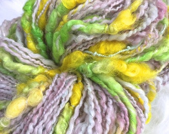 Art Yarn Handspun -PINEAPPLE GROVE Bulky, Textured, knit, weaving supplies, craft supplies, chunky, doll hair 120yds Free Shipping