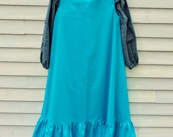 Girl's,  size 12/14,  Pioneer/Prairie costume, navy and turquoise.