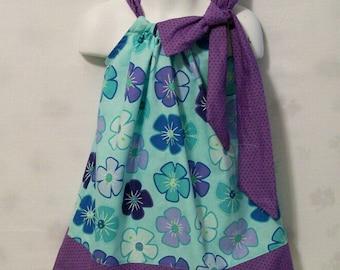 Girls Aqua with purple Floral Pillowcase Dress,  Girls Clothing, Baby Girls Dress, Toddler Big Girls Dress, handmade, USA Made, #243