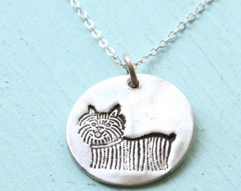 ON SALE YORKIE dog silver pendant - illustration by Gemma Correll - handmade sterling silver necklace by Chocolate and Steel