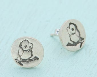 ON SALE MINI Owl studs, earrings with Chocolate and Steel logo, eco-friendly silver. Handcrafted by Chocolate and Steel