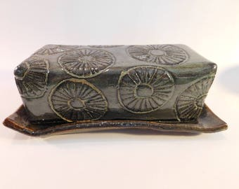 Floral patterned butter dish