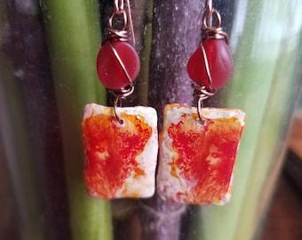Tangerine Dream art nouveau earrings