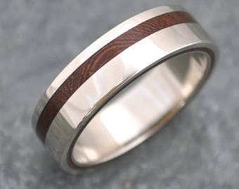 Size 8.5, 8mm READY TO SHIP Equinox Nacascolo Wood Ring with Recycled Silver - wood wedding ring, women's wood ring