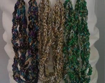 Ribbon Adjustable Necklaces, Ladder Yarn, Trellis Yarn