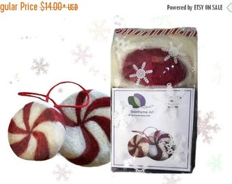 KIT SALE Needle Felting Kit, DIY Craft Kit, Peppermint candy, wool Christmas ornament plushie White red green holiday decor tree ornament bo