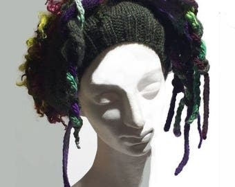 "KIT SALE Hand knit crochet hat beret w/ dred locks ""Good Hair Day"" MTO, customized Tam: bad hair day fix, ski hat, hair fall, dred locks, un"