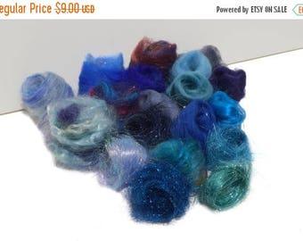 KIT SALE Blue Fiber kit, Sampler, wool, firestar, glitz, Needle, Wet Felting, Spinning, Palette, mini batt, roving, Dark, medium, light blue