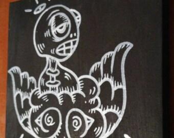 "JOS-L Original Art 6"" x 6"" Canvas Painting Pop Abstract Outsider Graffiti Surreal Lowbrow Street"