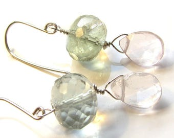 Big Rose Quartz Teardrop  and Green Fluorite Earrings in pink green harmony - sterling silver 925