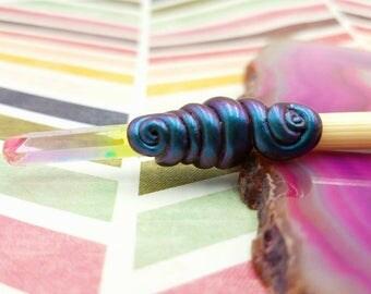 Rainbow Quartz Crystal Porcupine Quill Hairstick #2