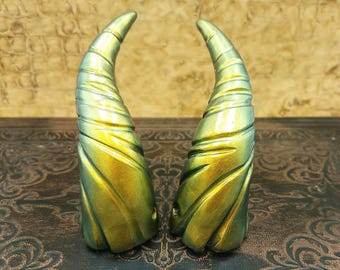 Dorado Green/Gold Mini Dragon Fairy Costume Horns - Made to Order