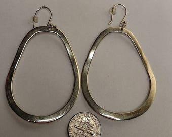 Flash Sale Huge Vintage Mexican Sterling Silver Front Drop Open Hoop Mod Statement Earrings Pierced