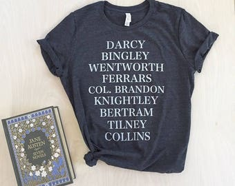 Jane's Men T-shirt - Jane Austen characters - bookish shirt