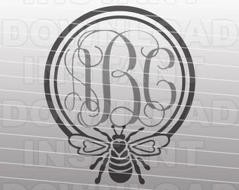 Queen Bee Monogram SVG File,Honey Bee SVG File - Commercial & Personal Use - vector clip art for Cricut,svg file for Silhouette,vinyl cutter