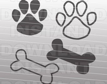 Paw Print SVG File-Dog Bone SVG-Dog Paw svg-Cutting Template-Vector Clip Art for Commercial & Personal Use-Cricut,Cameo,Stencil,Silhouette