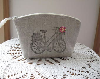 Essentail Oil Case, Cosmetic Bag, Handstamped Clutch, Bicycle Zipper Purse, Made in the USA, Small Camera Bag, Antiquebasketlady