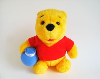 Vintage Winnie the Pooh Teddy Bear Stuffed Animal Toy with Honey Pot by Mattel Walt Disney 1990s Toys Honey Jar